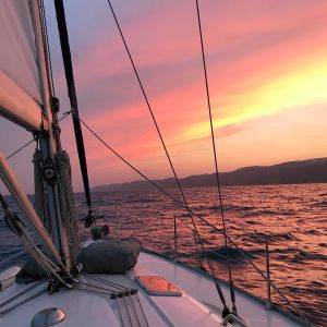Sunset Sail Purple Sky