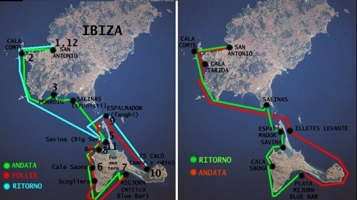 Mapa de Ibiza y Formentera - rutas de navegación.
