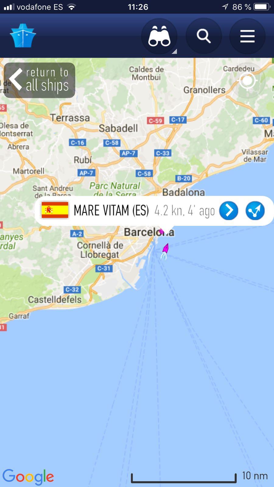 Marine Tarffic ruta