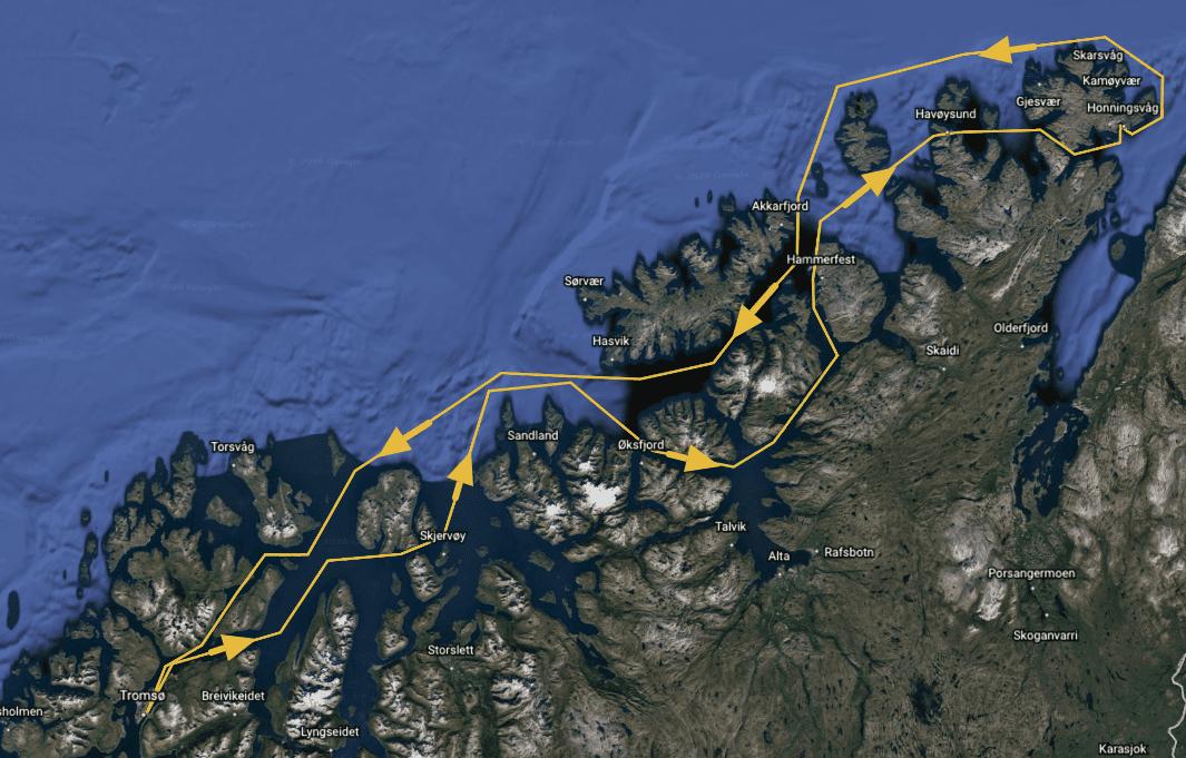ruta en velero por cabo norte
