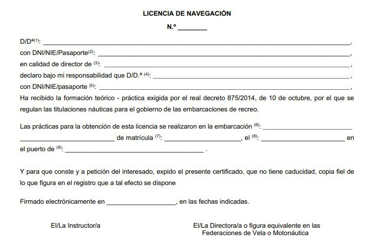 Tarjeta Licencia de Navegación